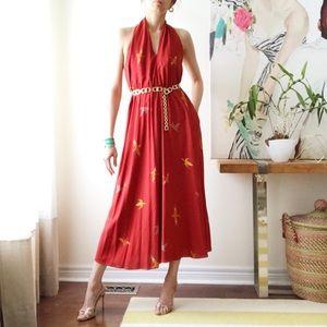 Vintage Linda Lundstrom backless halter midi dress